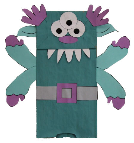 Halloween craft ideas monster puppets ikidz training for Brown paper bag crafts for preschoolers